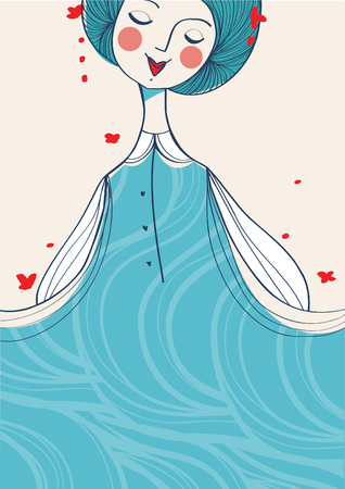 hair colors: Blue hair girl background, vector illustration
