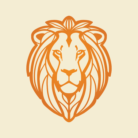 Lion head, illustration on light background. Vettoriali