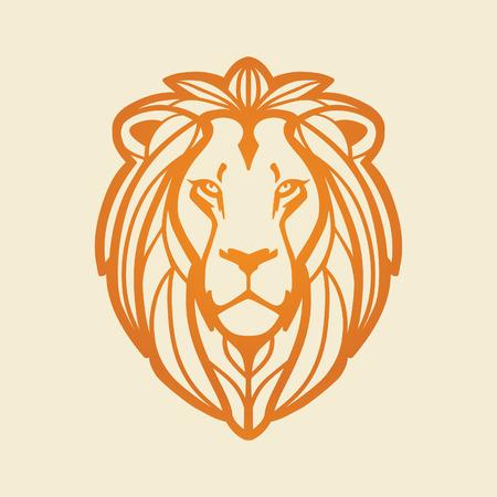 Lion head, illustration on light background. Illustration