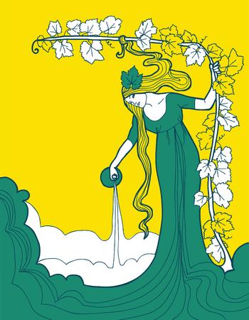Beautiful background for white wine label, vector illustration Standard-Bild - 101640944