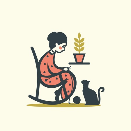 Knitting woman with cat, vector illustration