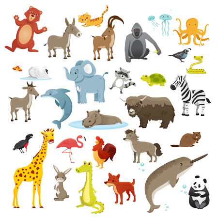 Cartoon animals collection, vector illustration