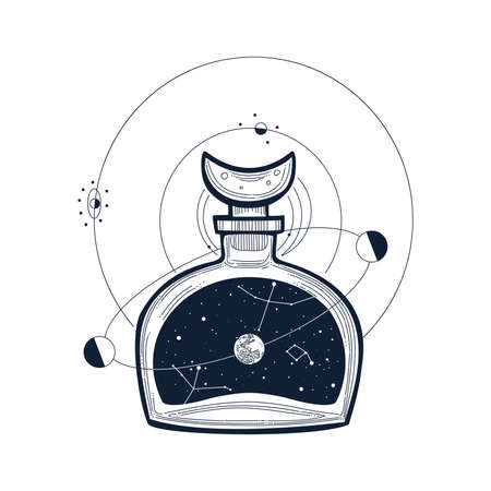 Hand drawn astronomy potion bottle, vector illustration