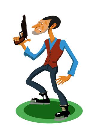 Cartoon gangster with a gun vector