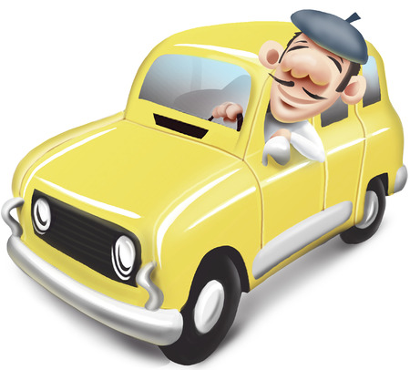 man driving car