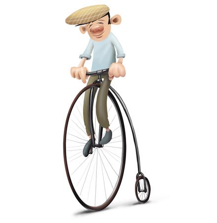 velocipede: man driving velocipede, first bike Stock Photo