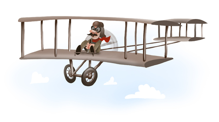 man driving first airplane, wright brothers plane