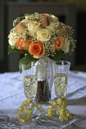 champain: Roses and champain glasses Stock Photo