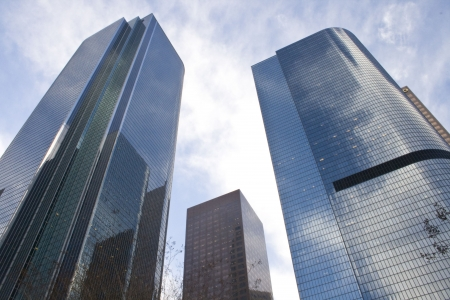 Downtown Los Angeles, three buildings reflecting clouds photo