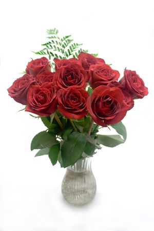 Dozen red roses in a vase on a white background