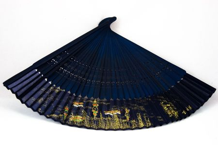 Blue chinese fan, open with gold art on the age