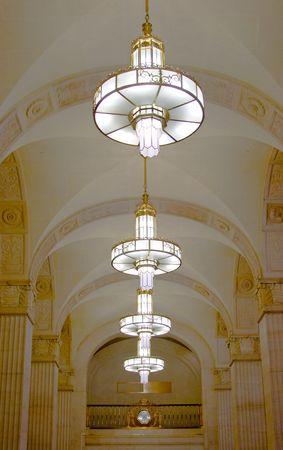 gleams: Canada Permanent Building. Circular chandeliers are replicas restored in 2001 Stock Photo