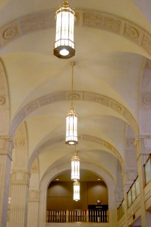 restored: Canada Permanent Building. Chandeliers are replicas restored in 2001 Stock Photo