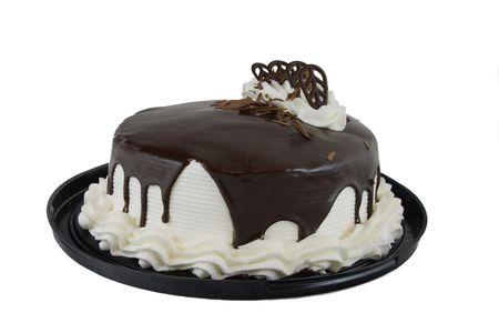 Chocolade taart met witte kroon en chocolade Glaceertechniek Stockfoto