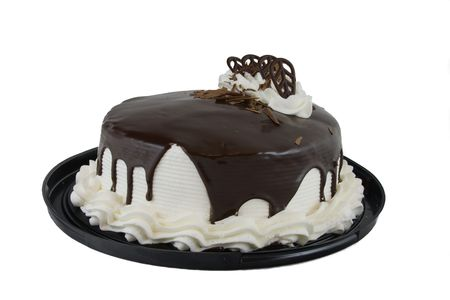 Chocolate cake with white icing and chocolate glaze