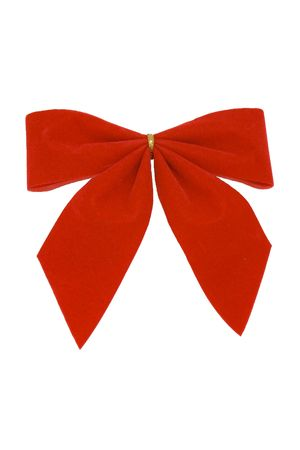 Small red velvet ribbon on white background