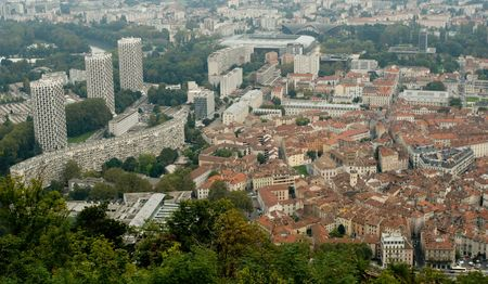 new age: Historical old center and new modern age of Grenoble