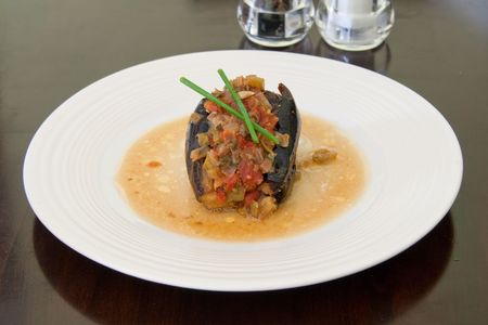 Turkish stuffed eggplant, vegeterian appetizer
