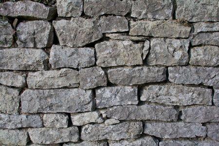 Grijze muur van oude ongelijke stenen, horizont aal Stockfoto