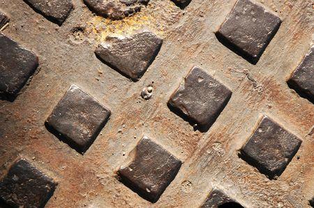 Closeup of a rusty manhole cover Stock Photo - 555078