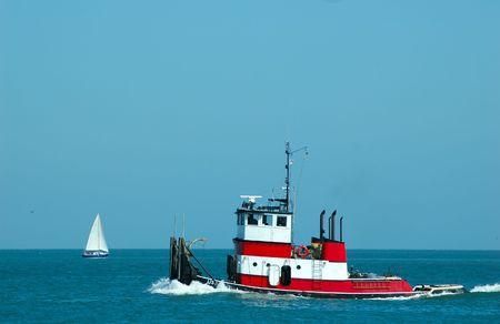 tugboat: Tugboat on the ocean