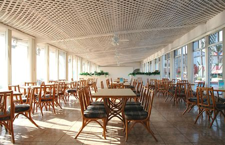 lattice window: Dining hall at a resort hotel
