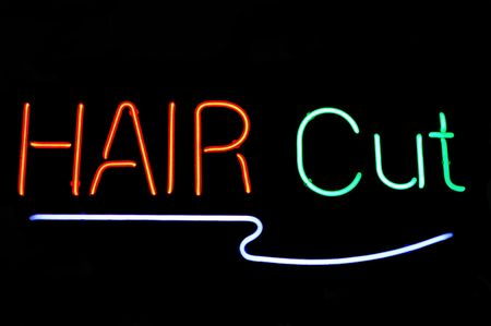Hair Cut neon sign Stock Photo - 599829
