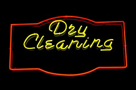 dry cleaning: Neon sign advertising dry cleaning Stock Photo