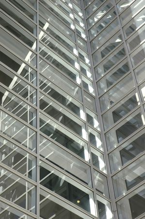 Closeup of the windows on an atrium on a skyscaper 写真素材