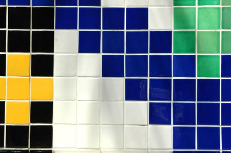Old ceramic tile in black, green, yellow, white and blue Stock Photo - 600118