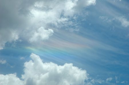 Sundog in the sky and clouds photo