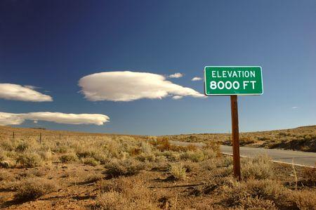 high sierra: 8000 feet above sea level sign in the high Sierra Mountain desert in California Stock Photo