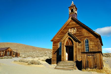 bodie: Abandoned church in a ghost town, Bodie State Park, California