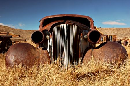 Car abandoned in the 1930s in the ghost town of Bodie, California