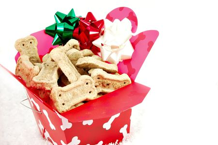 Doggie biscuits in a Christmas gift box photo