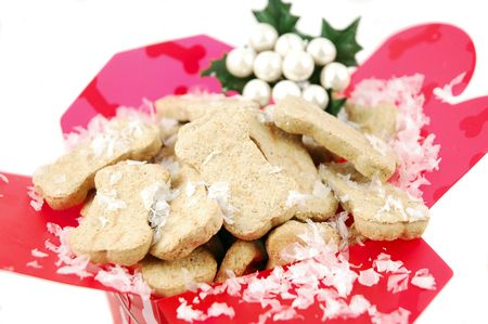 Dog biscuits in a Christmas gift container photo