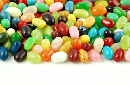 Jelly beans isolated on a white background with copyspace photo