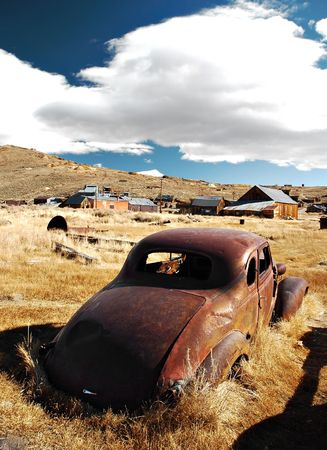 Car abandoned in the ghost town of Bodie, California