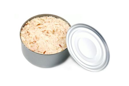 Open can of tuna fish with lid isolated on a white background Stok Fotoğraf