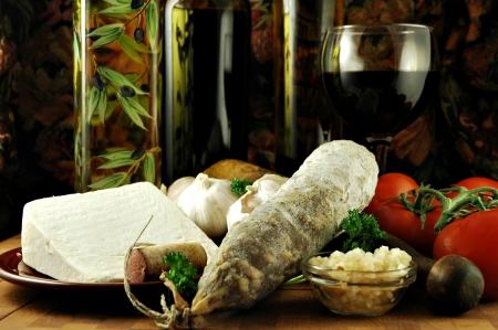 ricotta cheese: Still life of ingredients for a traditional Italian dinner