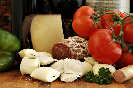 Fresh ingredients for an Italian dinner and appetizers photo