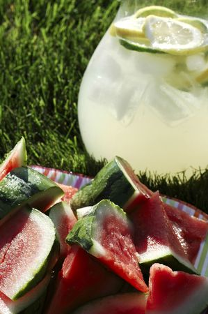 Pitcher of lemonade, plate of watermelon, vase of sunflowers on grass in summer afternoon sunlight Stock Photo - 801967