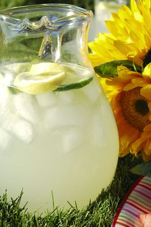 Pitcher of lemonade with sunflowers on the grass lit by afternoon sun Stock Photo - 801970