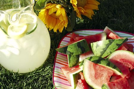 Pitcher of lemonade, plate of watermelon, vase of sunflowers on grass in summer afternoon sunlight