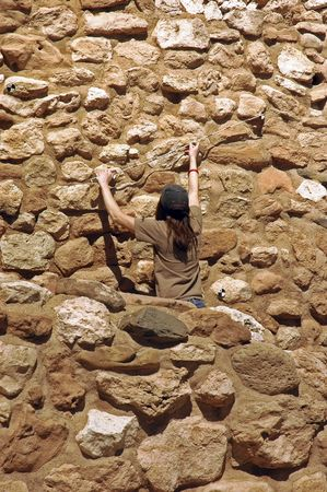 archeologist: Archeologist taking measurements at the ancient ruins of Tuzigoot National Monument, Clarkdale, Arizona