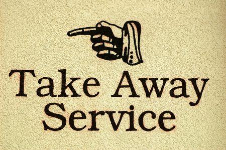 Take Away Service Zeichen bemalt auf einem Stuck Wand Standard-Bild - 865518