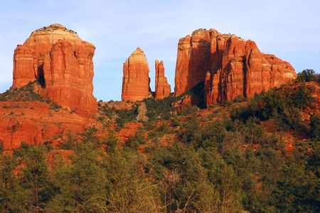 Cathedral Rock lit by the setting sun, Sedona, Arizona Stock Photo