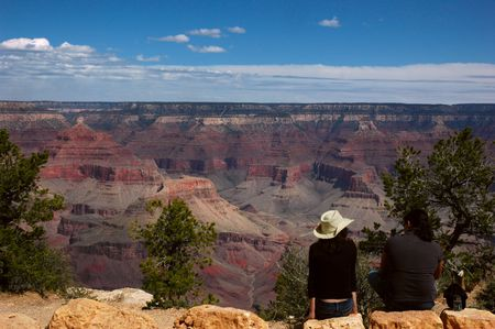 Tourist view the Grand Canyon on the South Rim, Arizona