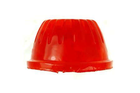 gelatina: Macro de una gelatina de postre aislados sobre un fondo blanco