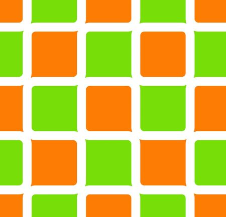 Retro abstract of rounded squares in orange, lime green, and yellow
